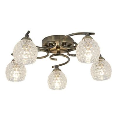 MINNIE 5 LIGHT CEILING FLUSH, ANTIQUE BRASS, DIMPLED CLEAR GLASS SHADES