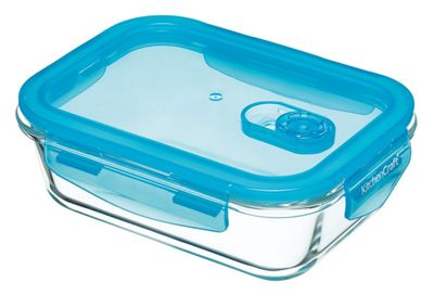 KitchenCraft Pure Seal Airtight Glass Food Container, 600ml Rectangle