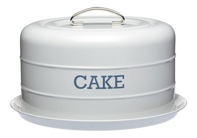 KitchenCraft Living Nostalgia Airtight Domed Cake Tin in French Grey LNCTGRY