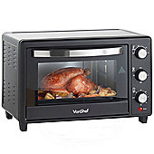 VonShef 30 Litre Black Convection Mini Oven Table Top Grill 1600W & Accessories