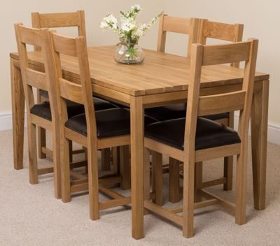 Bevel Solid Oak 150 cm Dining Table with 6 Brown Lincoln Chairs