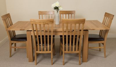 Richmond medium Extending Solid Oak Dining Table with 6 Solid Oak Leather Chairs