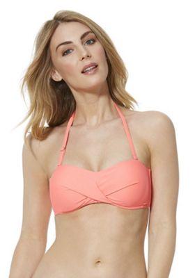 F&F Twist Front Bandeau Bikini Top Coral 12