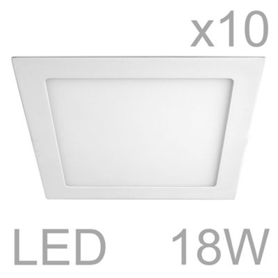 Pack of 10 MiniSun Celica Square 18W LED Downlight Panels, Cool White
