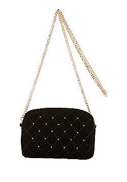 F&F Quilted Velvet Camera Bag Black One Size