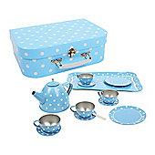 Bigjigs Toys Blue Polka Dot Tin Tea Set
