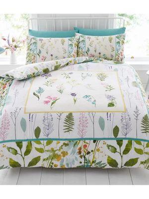 Botanical Flowers Double Duvet Cover and Pillowcase Set
