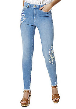 F&F Blossom Embroidered Chewed Hem High Rise Skinny Jeans - Light wash