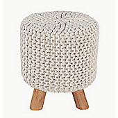 Homescapes Natural Cotton Knitted Tall Footstool With Legs