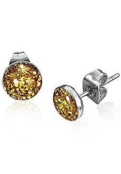 Urban Male Stainless Steel Gold Shimmer Stud Earrings 7mm