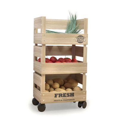 buy wooden trolley 3 tier kitchen fresh vegetable fruit. Black Bedroom Furniture Sets. Home Design Ideas