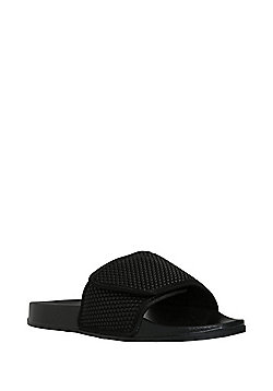 F&F Textured Strap Pool Sliders - Black