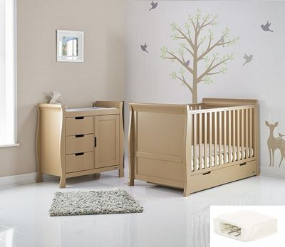 Obaby Stamford Mini Cot Bed 2 Piece + Sprung Mattress Nursery Room Set - Iced Coffee