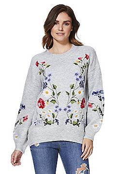 F&F Floral Embroidered Blouson Sleeve Jumper - Grey