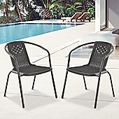 Outsunny Rattan Effect Plastic Chairs Set Garden Outdoor 2 Seater Dining Seat Set