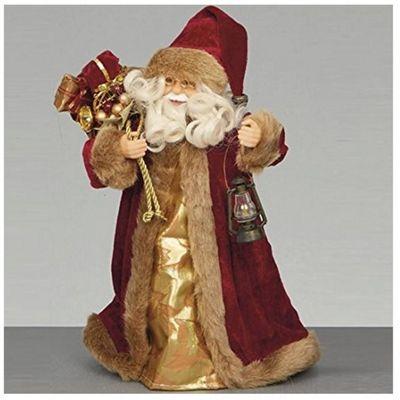 30cm Burgundy Tree Top Santa with Lantern and Sack