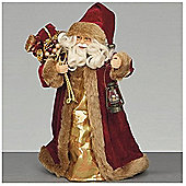 30cm Burgundy Tree Top Santa with Lantern and Sack