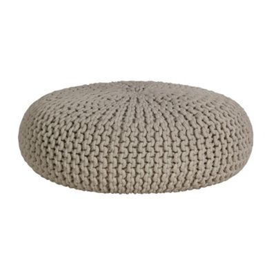Homescapes Off White Natural Knitted Cotton Large Round Pouffe Footstool 70 x 23 cm