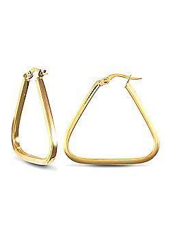 Jewelco London 9ct Yellow Gold Square Tube Triangle Shape hoop Earrings