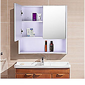 Homcom Wall Mount Mirror Cabinet Wood Bathroom Storage Shelf Double Door Cupboard