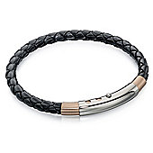 Fred Bennett Stainless Steel Skinny Black Leather & Rose PVD Bracelet