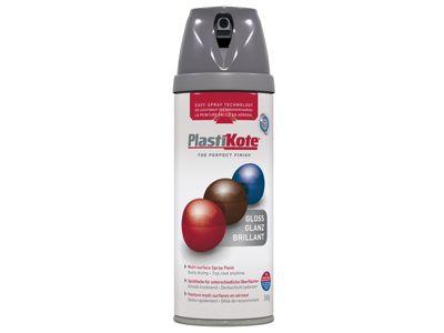 Plasti-kote Twist & Spray Gloss Medium Grey 400ml
