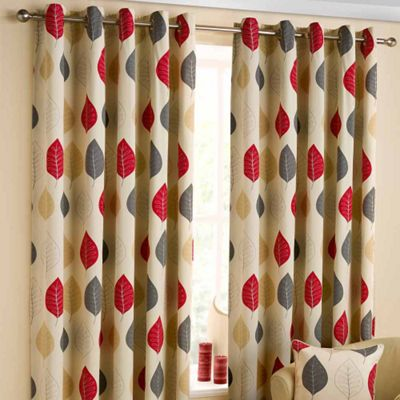 Homescapes Cotton Red Ready Made Curtain Pair Modern Leaf Design 46x90