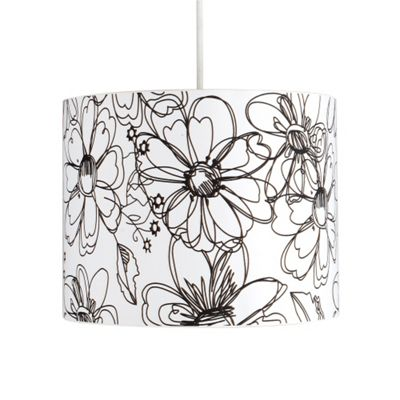 Modern Floral Sketch Design Ceiling Light Pendant Shade Black & White