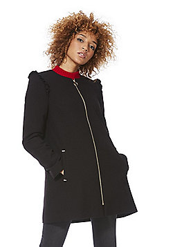 F&F Frill Trim Collarless Coat - Black