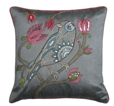 Silver Sequin Bird Cushion Embroidered Bird Finish