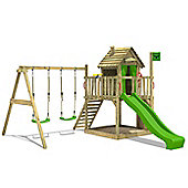 Fatmoose DonkeyDome Double XXL Climbing Frame With Apple Green Slide and Swing