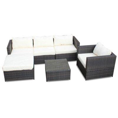 Bermuda Outdoor Brown Rattan Corner Sofa Set With Table & Armchair