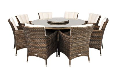 Beau Savannah Rattan Garden Furniture 8 Seat Round Glass Top Table Dining Set  With Free Parasol With