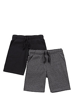 F&F 2 Pack of Sweat Shorts with As New Technology - Black & Grey