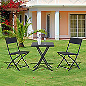 outsunny rattan garden furniture bistro set black