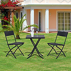 outsunny rattan garden furniture bistro set black
