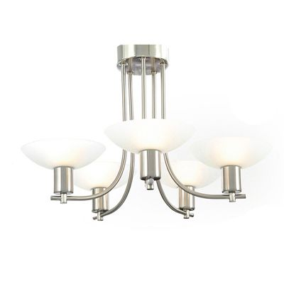 Pini Pendant 5 Light Satin Nickel/Frosted Glass