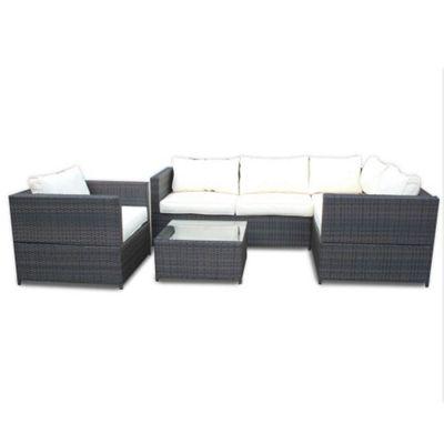 Bermuda Outdoor Brown Rattan Corner Sofa Set With Table U0026 Armchair