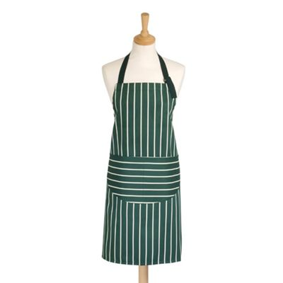Rushbrookes Butchers Stripe Adult Apron, Green