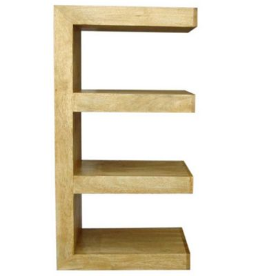 Homescapes Dakota Double E Shaped Display Unit Bookcase Oak Shade