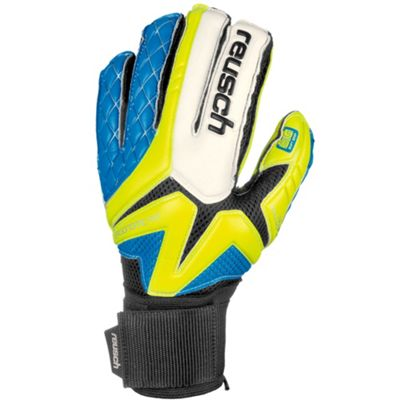 Reusch Waorani Pro SG Ortho-Tec LTD Goalkeeper Glove - Yellow / Blue, Size 10.5