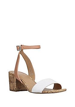 F&F Ankle Strap Block Heel Sandals - White