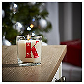 Tesco Alphabet Christmas Filled Candle Jar K
