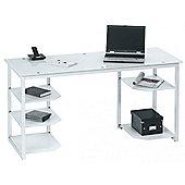 Maja Alaska Home Office Desk - White Glass and White Finish