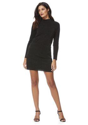 JDY Sparkle Plisse Long Sleeve Dress L Black