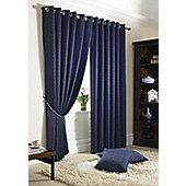 Alan Symonds Madison Navy Eyelet Curtains - 90x90 Inches (229x229cm)