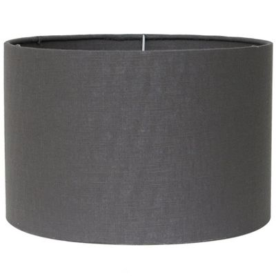 Modern 35cm Grey Double Lined Linen Drum Lamp Shade Cylinder