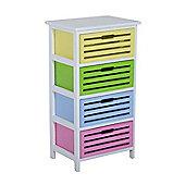 Homcom Modern 4 Drawer Wooden Unit Storage Organizer Furniture (Multi)