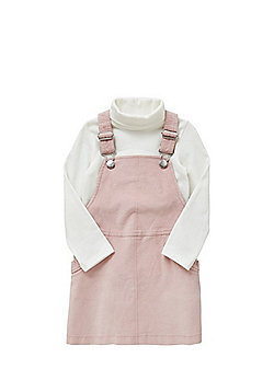F&F Polo Neck Top and Corduroy Pinafore Dress Set - Pink