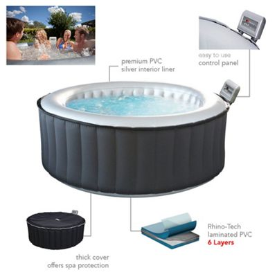 M-SPA Silver Cloud Lite M021LS Inflatable Hot Tub Jacuzzi Spa 4-6 People